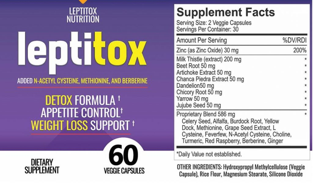 Leptitox Nutrition Label and Ingredients