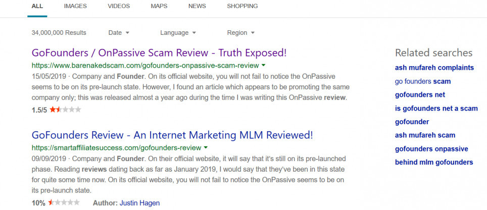 is gofounders and onpassive a scam screenshot