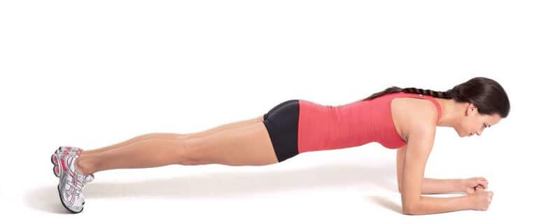 A lady in the plank position