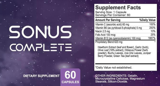 Sonus Complete Ingredients label