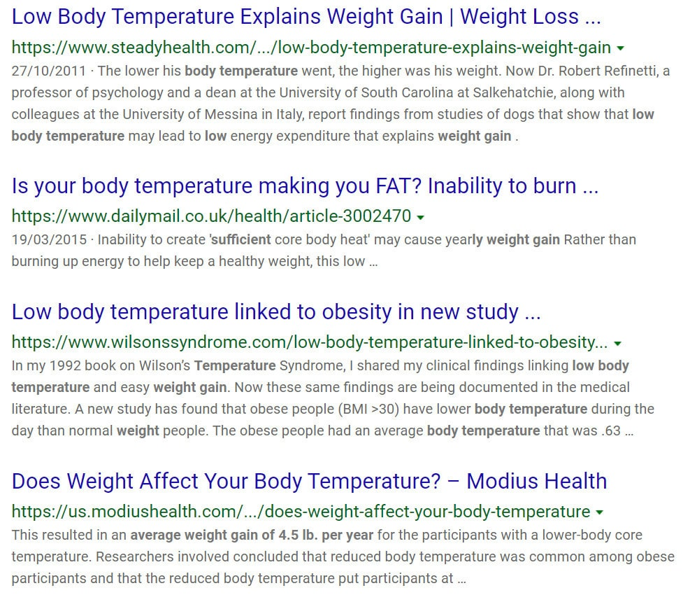 core body temperature and weight loss