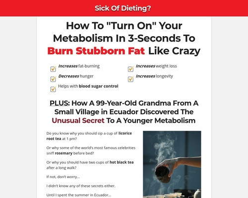 Sick of Dieting?  How to turn on your metabolism in 3 seconds to burn stubborn fat like crazy